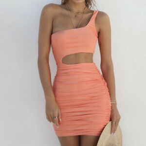Ruched-Casual-One-Shoulder-Bodycon-Sexy-Sleeveless-Cut-Out-Party-Mini-Dress