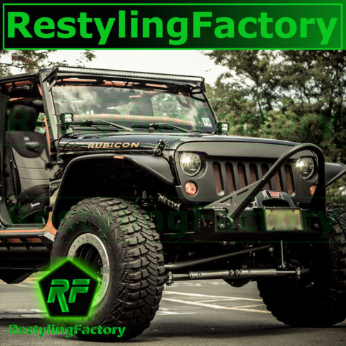 Front Hood Matte Black Replacement Grille Shell for 07-17 Jeep JK Wrangler