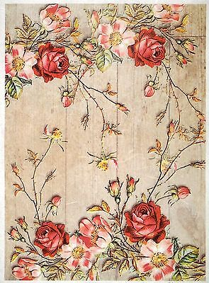 Rice paper -Similar roses on a wooden floor- for Decoupage Scrapbooking Sheet