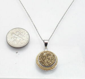 Gold-Tone-Drusy-Druzy-Pendant-Cable-Chain-Necklace-Anti-Tarnish-Real-925-Silver
