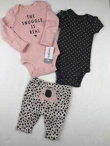 1e1fc6b84 NWT Baby Girl NB Newborn 3 Pc Outfit Set Pants Bodysuits The Snuggle ...