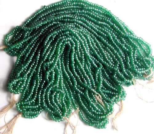 Vintage Green Glossy Czech Glass 12//0 Round Seed Beads 5 Mini Hanks DESTASH SALE