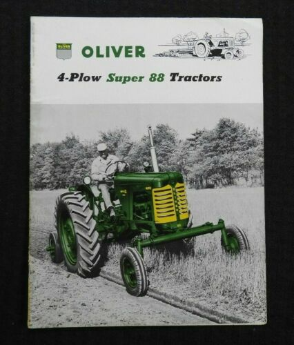 "1955 /""THE OLIVER 4 PLOW SUPER 88 ROW-CROP TRACTOR/"" CATALOG BROCHURE VERY NICE"