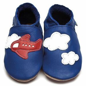 90611ddfb446 Inch Blue Girls Boys Luxury Leather Soft Sole Baby Shoes - Aeroplane ...