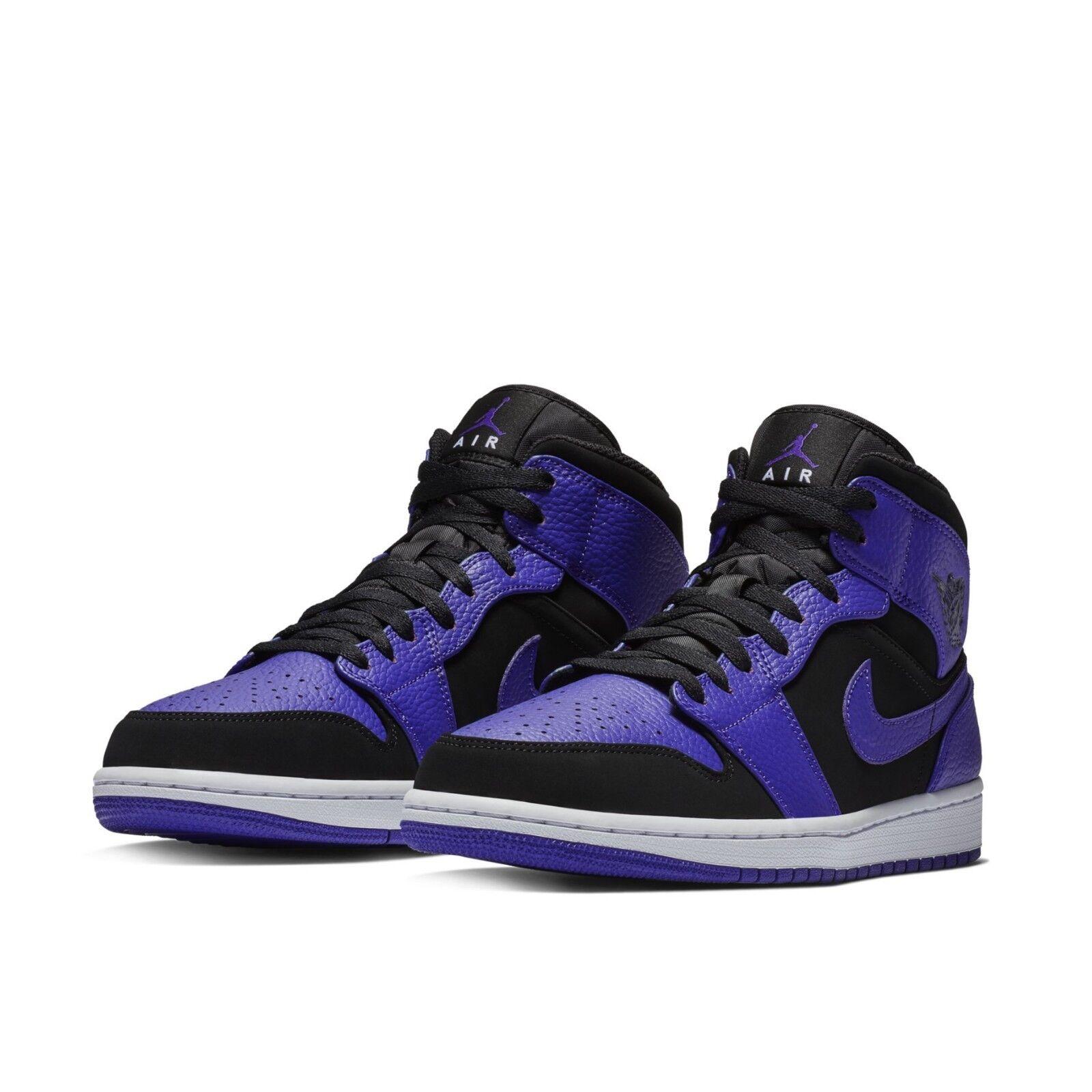 Nike Mens Air Jordan 1 Mid Black Concord Purple shoes Sneakers AJ1 554724-051