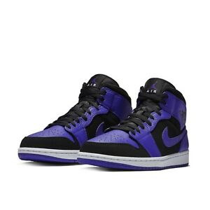 c7abc8c89fd04f Nike Mens Air Jordan 1 Mid Black Concord Purple Shoes Sneakers AJ1 ...