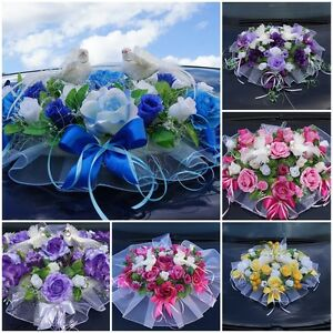Auto Schmuck Blumen Braut Paar Dekoration Autoschmuck Tauben