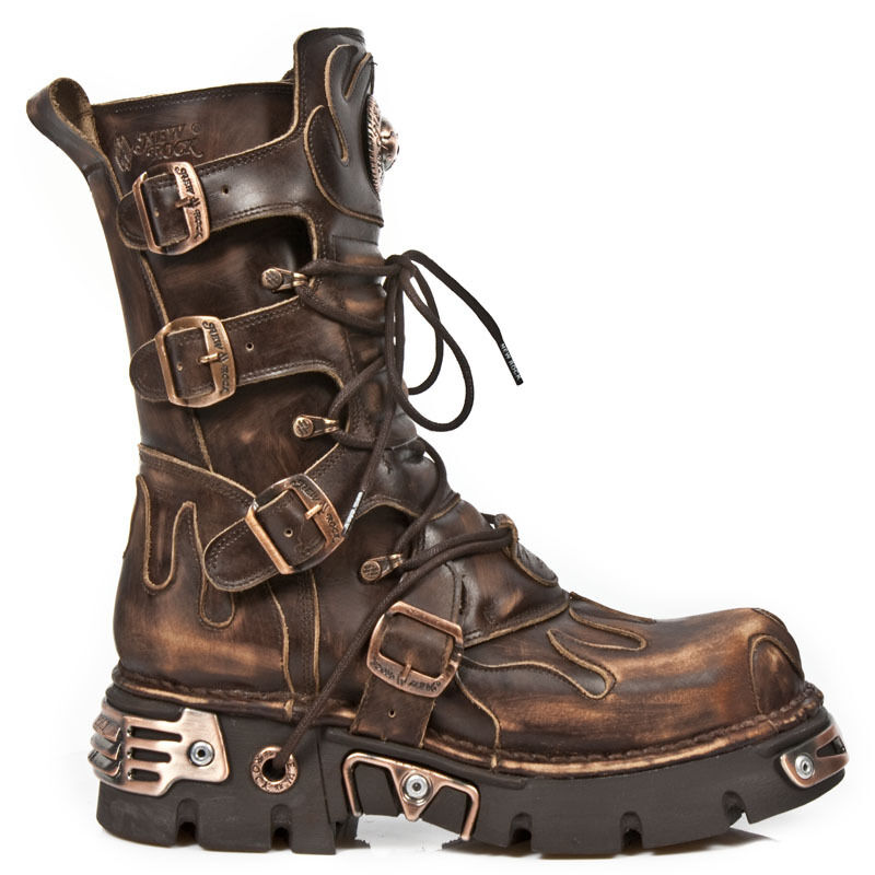 New Boots Rock Stiefel Boots New gothic Vintage grau/braun M.591-S8 9cafd9