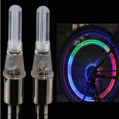 2X Bouchon de Valve Vanne Pneu LED Multicolore Lumière De Pneu De Vélo moto auto