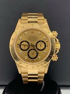 Details about Rolex Daytona Zenith 40mm 18k Yellow Gold Factory Diamond  Dial Ref 16528 Vintage