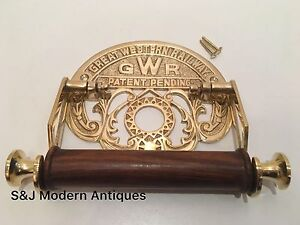 Victorian Toilet Roll Holder Gold Brass Unusual Novelty GWR Vintage Ornate Old