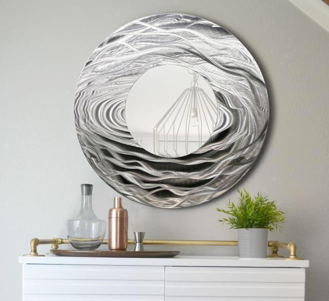 Silver Metal Wall Art Large Round Mirror Home Decor Metallic Accent By Jon Allen Ebay