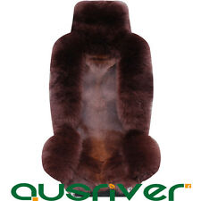 Premium Coffe Australian Wolf Sheep Skin Car Long Wool Front Rear Seat Cover Set