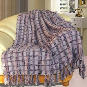 BOON-Multi-Color-Chenille-Couch-Throw-Blanket-Light-Weight-Warm-Decor-50-034-x-60-034