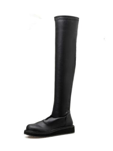 Stiefel Schenkel Schwarz Niedrig 3.5 cm Leder Kunststoff Komfortabel 8183