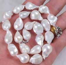 Real 12-14mm Natural South Baroque White Akoya Pearl Necklace 18""