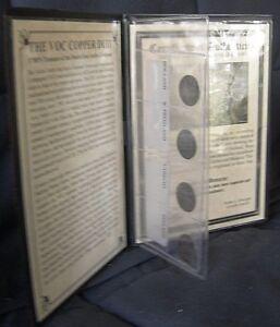 Dutch-East-Indies-VOC-Java-4-Duit-Coins-of-the-1700-039-s-amp-Info-CoA-in-Folio