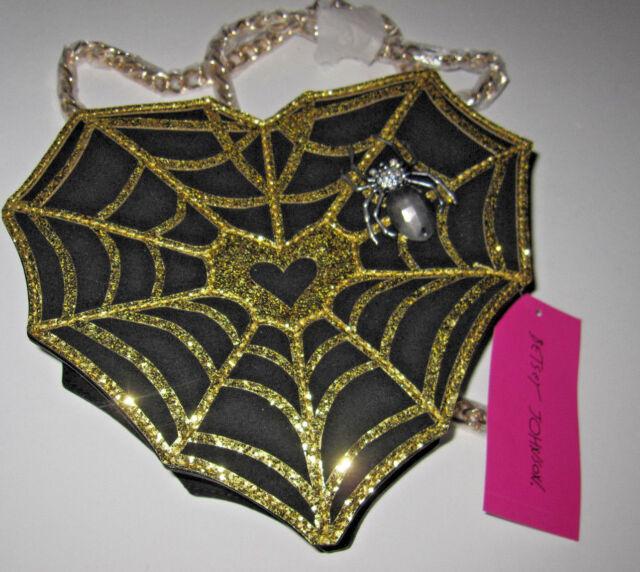 Betsey Johnson Spider Web Surfer Crossbody Kitsch Bag Gold Heart Halloween