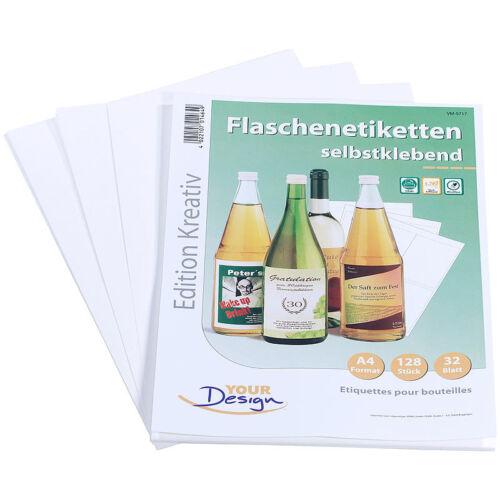 128 Inkjet-Flaschenetiketten 10x13 cm naturweiß//wischfest Etiketten