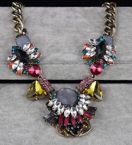 Statement-Halskette-Collier-Strass-Kristalle-Perle-Vintage-Altgold-Opulent-Neu