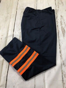 Enhanced (Hi Vis) Visibility Navy Blue Work Pants Orange tape - CU brand by REED