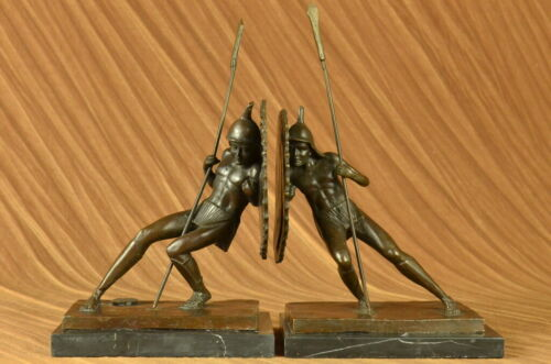 Art Deco Samurai Male Warrior Bookends Book Ends Bronze Sculpture Figurine Pair