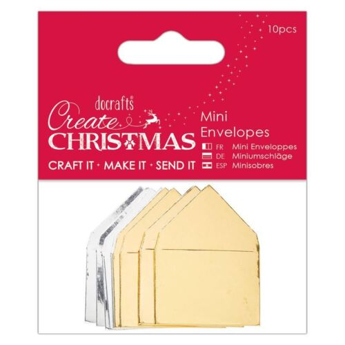 10 Papermania Metallic Mini Envelopes Create Christmas for cards /& crafts