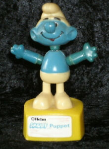 Details about Vintage Smurf String Puppet Push Button Helm Hong Kong