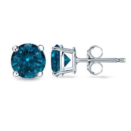 0.12CT Blue SI1-SI2 Enhanced Diamond 18K White Gold Men/'s Single Stud Earring