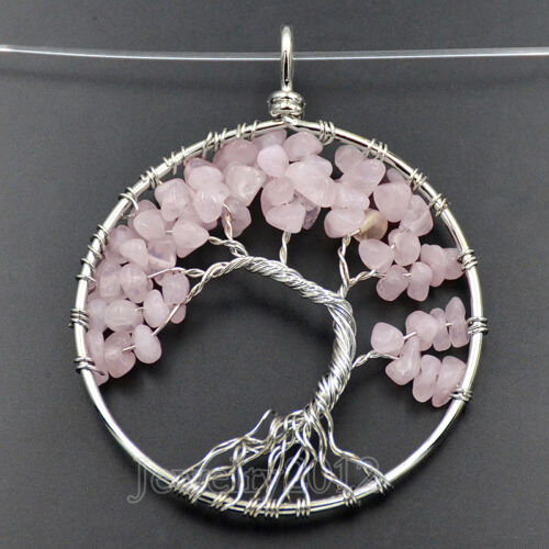 Natural Gemstones Reiki Chakra Chips Beads Tree Of Life Healing Pendant 50mm