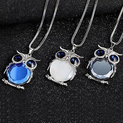 Women Mystic Owl Rhinestone Crystal Pendant Long Sweater Chain Necklace Jewelry