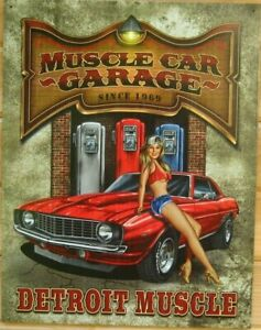 Muscle Car Garage Detroit Metal Sign MADE USA 16x12 Auto ...