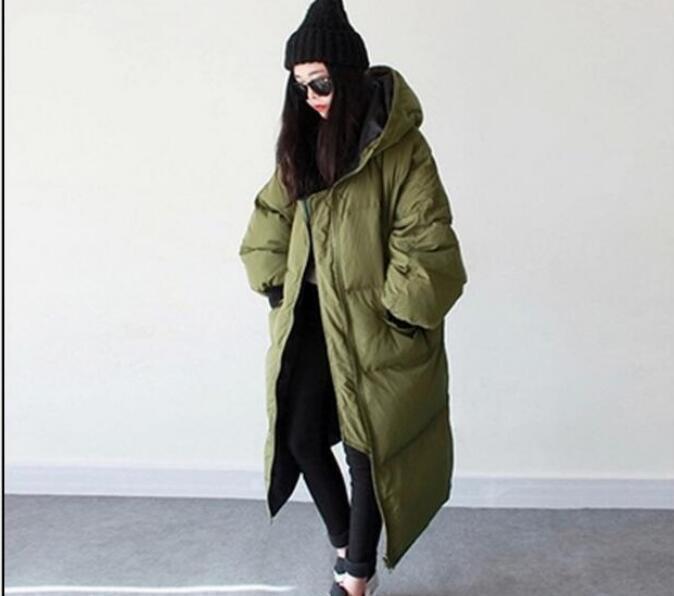 Women's Oversize Casual Hood Loose Fit Overcoats Long Down Winter Parka Coat @T3
