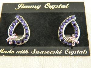169743ce2 La foto se está cargando Jimmy-Crystal-Swarovski -Cristal-Pendientes-Color-Amatista-Nuevo