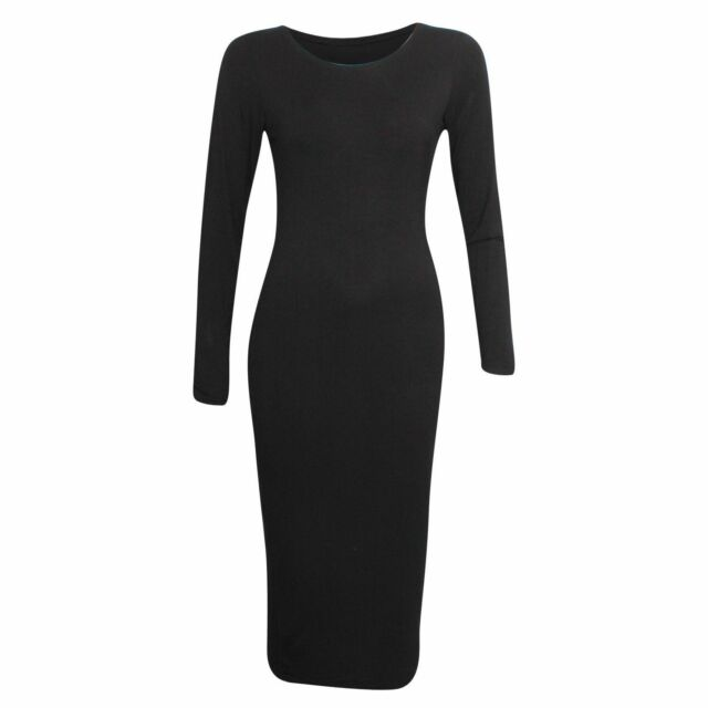 New Womens Plus Size Black Premium Quality Long Sleeve Midi Bodycon Dress 16-26