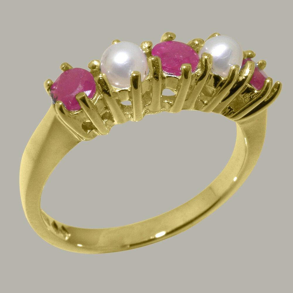 10k Yellow gold Natural Ruby & Pearl Womens Eternity Ring - Sizes 4 to 12