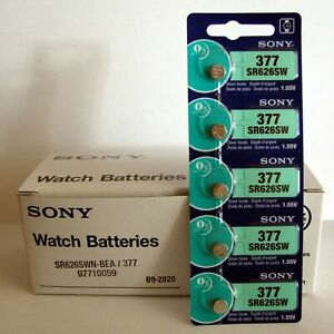 5-New-SONY-377-SR626SW-SR66-377-1-55V-Silver-Oxide-Watch-Battery-Exp-2022