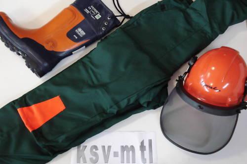 Schnittschutz Set KWF geprüfte Latzhose Hose Schnittschutzstiefel Stiefel Helm