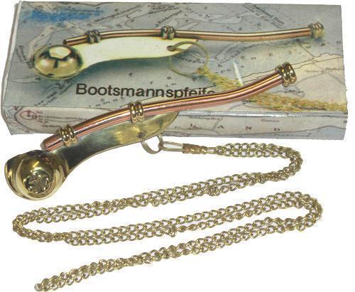 Bootsmannpfeife Pfeiffe Signalpfeifeaus Messing mit Beschreibung u.Notenblatt