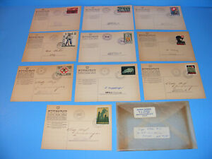 RARE-WWII-Swiss-Military-Post-Cards-Switzerland-Stamps-1939-1940-Lot-of-10