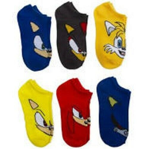 Sonic the Hedgehog Boys No Show Socks Shadow Tails Metal Super Knuckle 6 Pairs