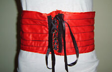 """RED CORSET BELT 5.5"""" WIDE WAIST BAND SALOON CAN CAN GIRL FANCY DRESS COSTUME"""