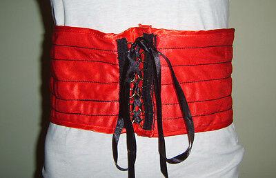 """100% Vero Corsetto Rosso Cintura 5.5"""" Ampia Fascia In Vita Saloon Can Can Ragazza Costume Costume-mostra Il Titolo Originale"""