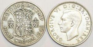 1937-To-1946-George-VI-silver-HalfCrown-Votre-Choix-de-Date-Annee