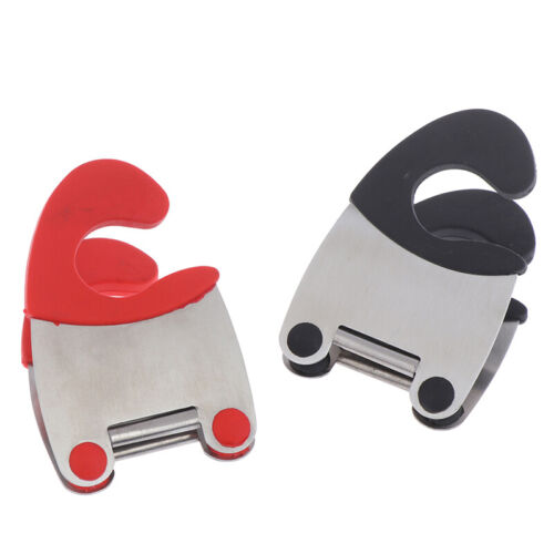 Stainless Steel Pot Clip Scoop Clamp Tongs Holder for Pan Spoon Spatula Rack
