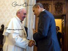 PAPST FRANZISKUS & BARACK OBAMA - Repro-Autogramm 20x27 cm, Pope Francis, signed