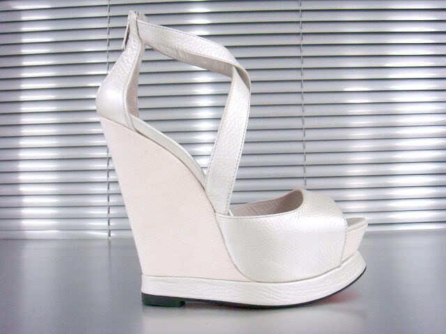 MORI ITALY SANDALS WEDGES TALÓN DE SANDALIAS zapatos LEATHER blancoO 41