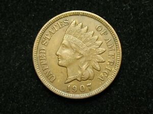 SUMMER-SALE-XF-1907-INDIAN-HEAD-CENT-PENNY-w-DIAMONDS-amp-FULL-LIBERTY-93c