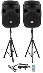 Rockville RPG122K Dual 12 Powered Speakers Bluetooth Mic Speaker Stands Cables /3909733