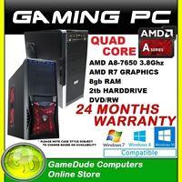 Amd Quad Core A8 7650k 3.8ghz Gaming Pc Computer 8gb Ram 2tb Hdd Radeon R7 Graph